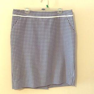 The Limited light blue polka dot pencil skirt